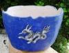 Feuerschale blau mit Drache (nur Deko!)