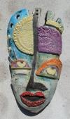 Maske Picasso in Peru (2) türkis-weiß